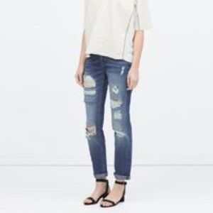 Zara Medium Wash Distressed Boyfriend Jeans